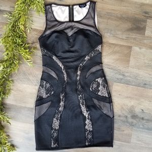 Bebe • Black Lace Cutout Dress